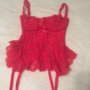 Frederick's of Hollywood Other - Frederick's of Hollywood red lace garter corset
