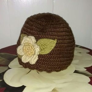 Accessories - Knit Winter Hat with Knit Floral Applique