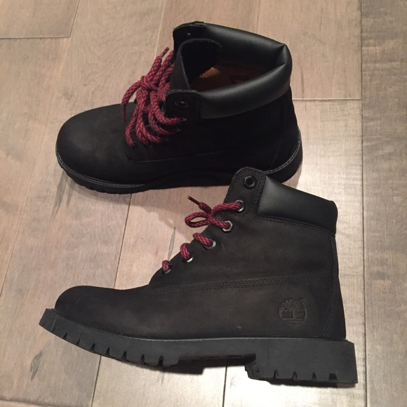 a35fc32390dc0 ... Timberland Timbs Black Red Lace Leather Booties ...