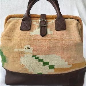 Will Leather Goods Handbags - Dhurrie Rug Mason Bag / Vintage Carpet Bag