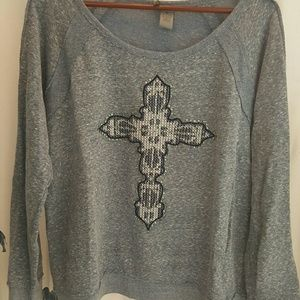 Tops - Long Sleeve Grey Shirt with Cross