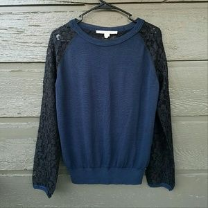 Diane von Furstenberg Tops - Diane von Furstenberg Blue and Black Lace Top