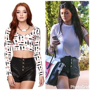 Kendall & Kylie Pants - Kendall and Kylie pleather short shorts