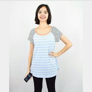 Evelynn's Boutique Tops - Pastel Powder Blue Striped Top Orange Trim