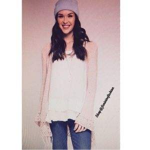 She and Sky Sweaters - LONG PINK CARDIGAN WITH FRINGE