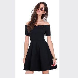 Sexy Off Shoulder Short Sleeves Black Dress