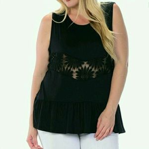 Bellino Clothing Tops - NWOT 2X Black Lace See Through Crochet Tank Top
