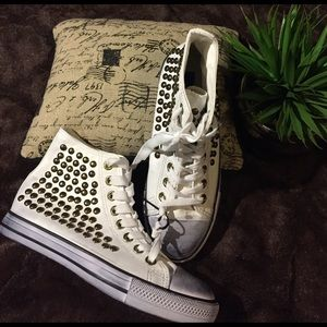 Penny Sue Shoes - NWOT White Studded High Tops