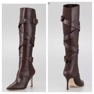 Manolo Blahnik Shoes - Manolo Blahnik Toton Buckled Leather Heeled Boot