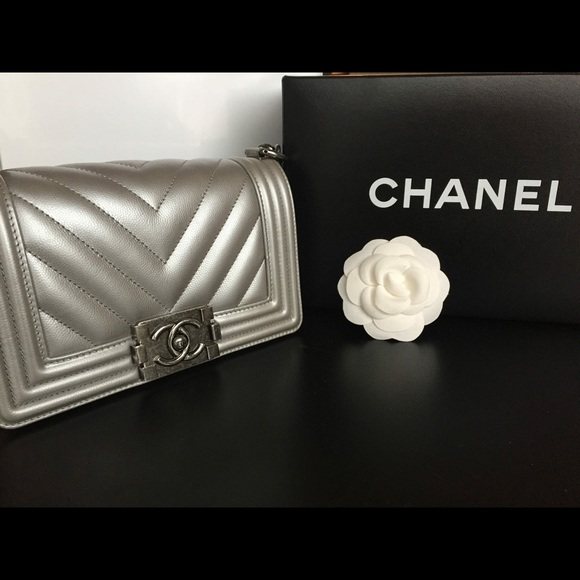 51e4f77cf6fc CHANEL Bags | Le Boy Small Silver Chevron Crossbody | Poshmark
