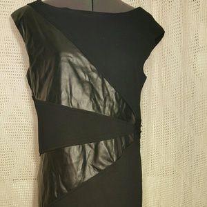 Sense Black Dress with Faux Leather Cut-outs 12