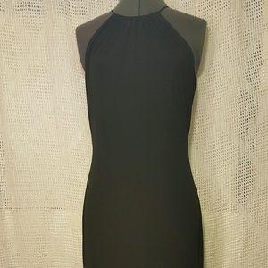 David Meister Black Sheath Dress Asymmetric Hem 8