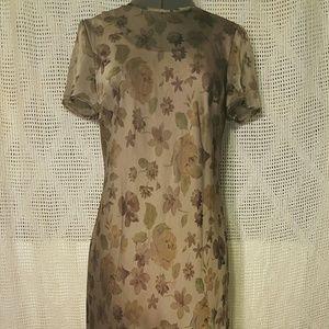 Ann Taylor Brown Green Floral Long Dress Sz 4