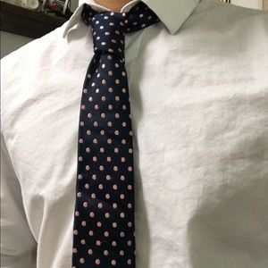 The Tie Bar Other - Blue and pink polka dotted silk tie