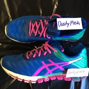 Asics Shoes - Asics Gel Quantum 180 Running Sneakers Blue  Pink