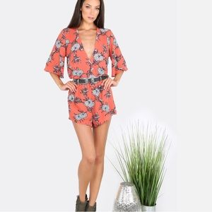 Haute Ellie Pants - Sedona Desert Flower Plunge Printed Romper