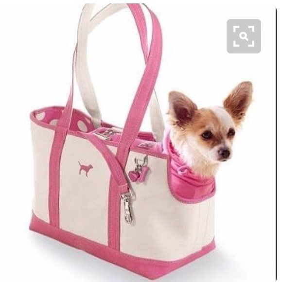 VS Pink dog carrier bag w  leash. M 589db3cd36d5943213010a49 95b0fb274d