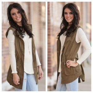 Olive hooded cargo vest