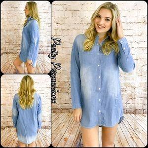 Distressed Washed Denim Blue Shirt Dress