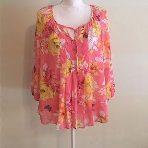 Charter Club pink floral LS sheer blouse - L- EUC