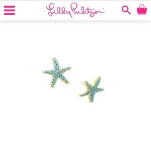 "Lilly Pulitzer Gold ""Starry Earrings"" NWOT"
