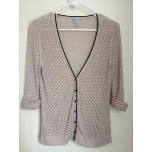 H&M Open Knit Cream Cardigan Size L