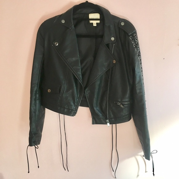 f67591f5243 Urban Outfitters Lace Up Leather Jacket. M 589de64413302a7d620080dc