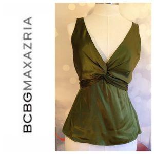 BCBGMaxAzria Tops - BCBG MAX AZRIA stunning green silk halter top Sz 5