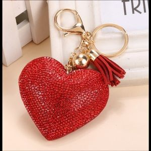 Romantic Puffed Heart Rhinestone Bag Charm