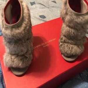 Charles Jourdan grey rabbit fur heels 😊