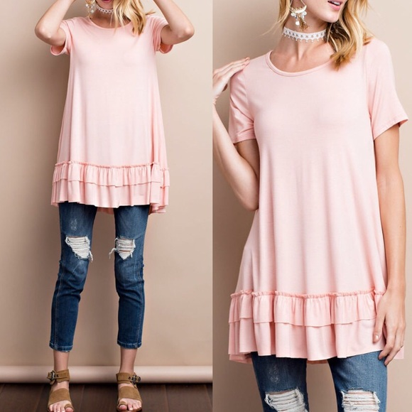 Short sleeve ruffle hem rayon blush tunic top