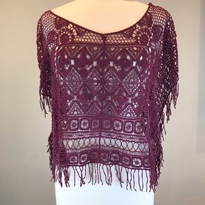 Urban Outfitters Ecote Crochet Fringe Boxy Top