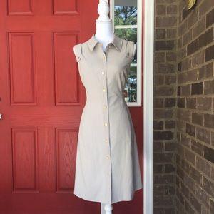Calvin Klein Beige Fitted Button Work Dress