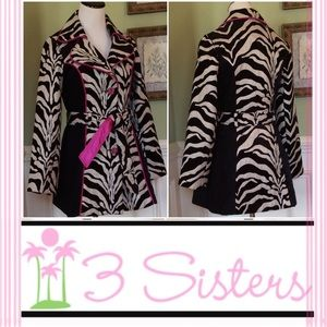 3 Sisters Jackets & Blazers - 🌴3 Sisters 🌴 Zebra Print Belted Trench Coat