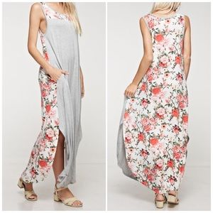 Bchic Dresses & Skirts - Gray Floral Maxi Dress