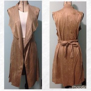 Draped Lapel Trench Coat Vest