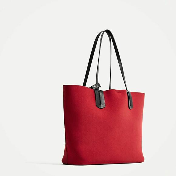 Zara Bags   Redblack Fabric Tote Bag   Poshmark a879be1314
