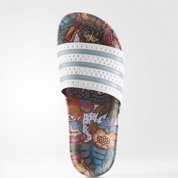 adidas adilette slides floral