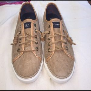 NWT Sperry Topsider tan corduroy boat shoes