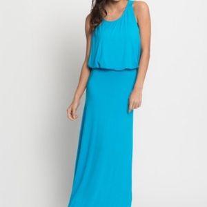 Dresses & Skirts - Turquoise Blouson Drape Maxi Dress