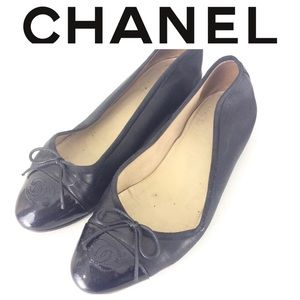 CHANEL BLACK Ballet logo cc shoes FLATS 39