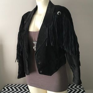 VIntage 80's fringe jacket sz S