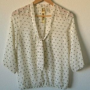 Spoiled Tops - Chiffon Polka Dot Bow Tie Blouse Top