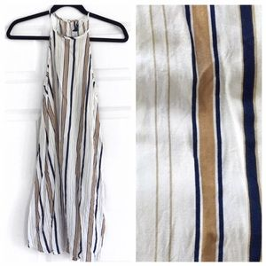 Navy & Tan Stripe Trapeze Dress