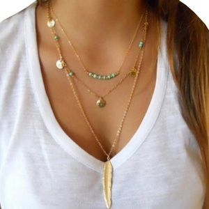 Jewelry - Gold and turquoise multilayer necklace