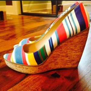Nine West Shoes - Nine West Colorful Striped Cork Wedge -sz 9