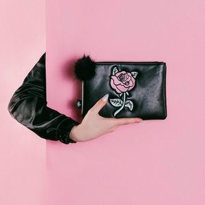 UNIF Handbags - 🆕 Vegan Leather Rose Clutch