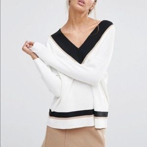 ASOS New Look Contrast VNeck Sweater