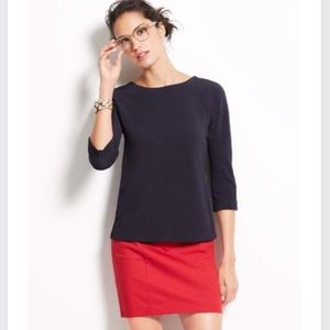 Ann Taylor Tops - Ann Taylor Navy Textured Crepe Button Back Top
