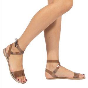 shoeroom21 boutique Shoes - Ladies ankle strap flat sandals grey clear color
